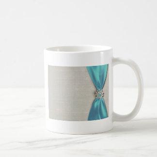 blue satin ribbon with jewel copy coffee mugs