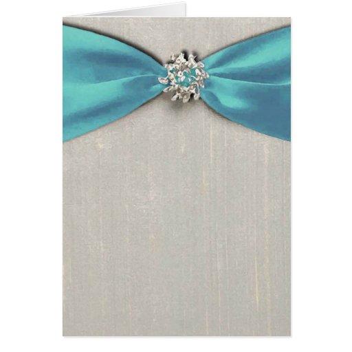 blue satin ribbon with jewel copy greeting card