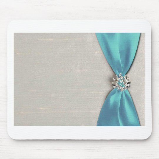 blue satin ribbon with jewel copy mouse pad