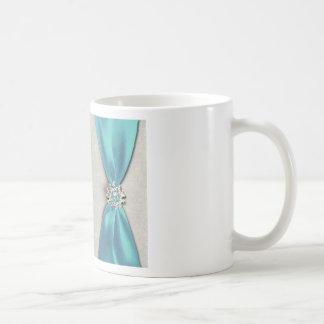 blue satin ribbon with jewel copy classic white coffee mug
