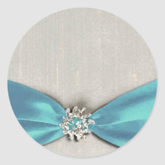 blue satin ribbon with jewel copy classic round sticker