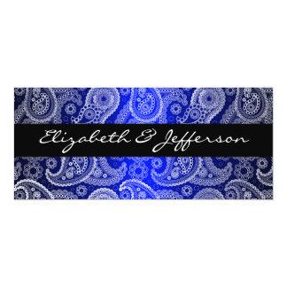 Blue Satin & White Paisley Lace Wedding Invitation
