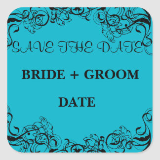 Blue Save The Date Magnet Square Sticker