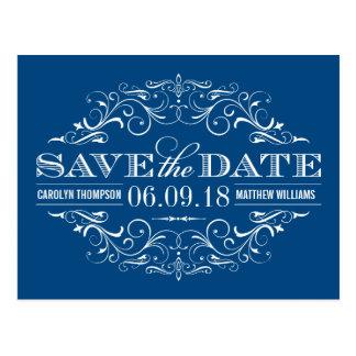 Blue Save the Date | Swirl and Flourish Postcard