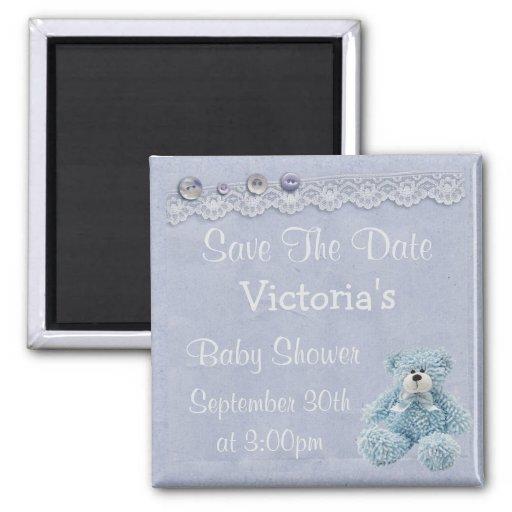 Blue Save the Date Teddy Bear Baby Boy Shower Fridge Magnets
