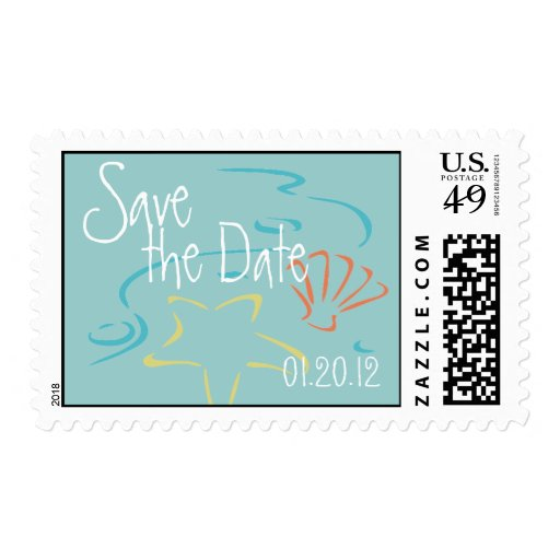 Blue Save the Date Tropical Wedding Postage