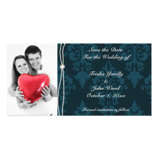 Blue Save the Date Wedding Photo Greeting Card