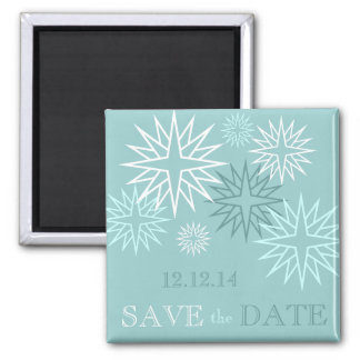 Blue Save the Date Winter Wedding Magnets