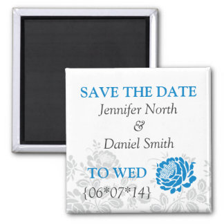 Blue Save The Dates 2 Inch Square Magnet