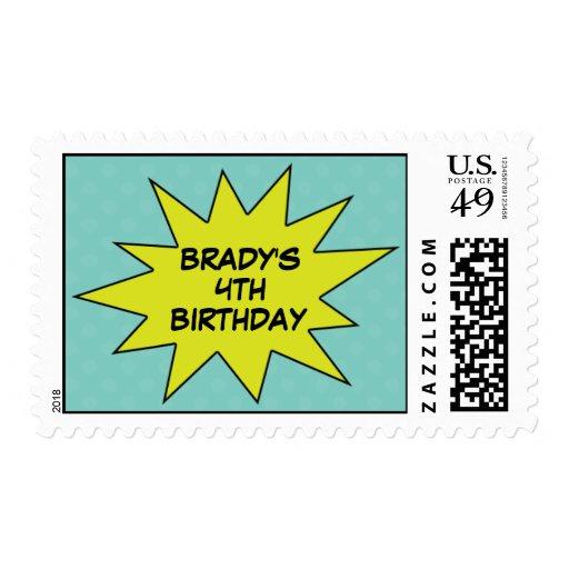 Blue Save the Day Superhero Birthday Postage Stamp