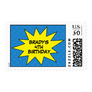 Blue Save the Day Superhero Birthday Postage Stamp