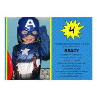 Blue Save the Day Superhero Photo Birthday Party Card