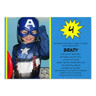 Blue Save the Day Superhero Photo Birthday Party Announcement