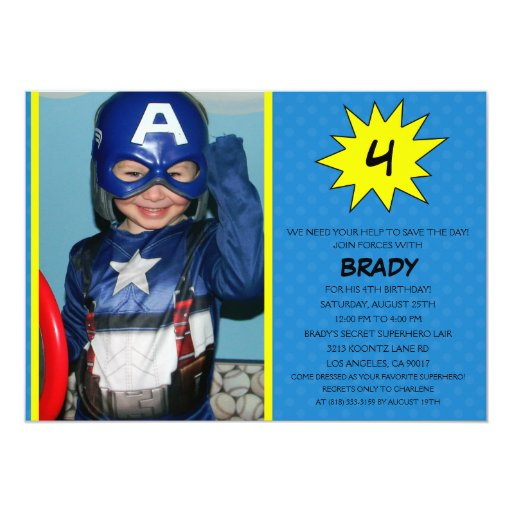 Blue Save the Day Superhero Photo Birthday Party 5x7 Paper Invitation Card