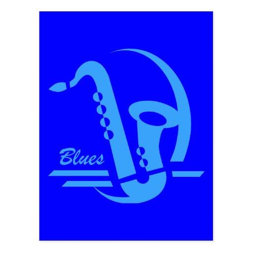 Blue sax blues postcards