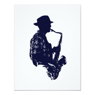 Blue sax player side view outline card