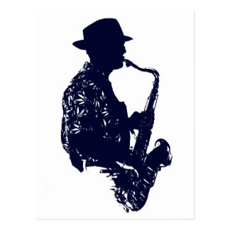 Blue sax player side view outline postcard