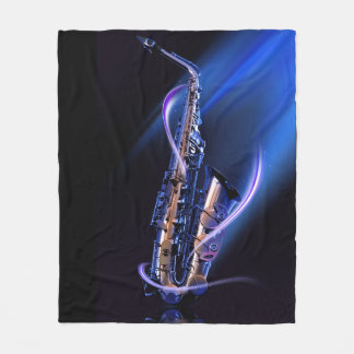 Blue Saxophone Fleece Blanket