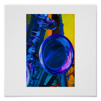 Blue Saxophone Image with Yellow in Back Poster