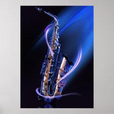 Blue Saxophone Poster at Zazzle