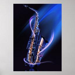 Blue Saxophone Poster