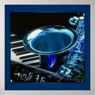 Blue Saxophone Print