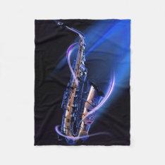Blue Saxophone Small Fleece Blanket at Zazzle