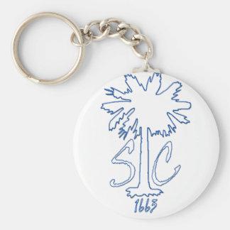 Blue SC 1663 BC Basic Round Button Keychain