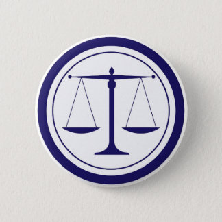 Blue Scales of Justice Silhouette Button