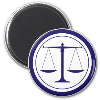 Blue Scales of Justice Silhouette Magnet