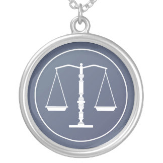 Blue Scales of Justice Silver Plated Necklace