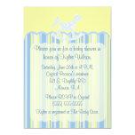 Blue Scallop Damask & Stripes Baby Shower Invite