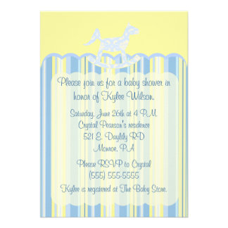 Blue Scallop Damask Stripes Baby Shower Invite