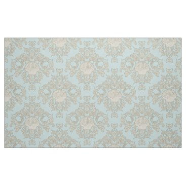 Beach Themed Blue Scallop Shell Leaf Scroll Damask Ocean Beach Fabric