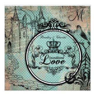 Blue Scalloped Unconditional Love Wedding Invite