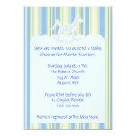 Blue Scallops & Stripes Baby Shower Invite