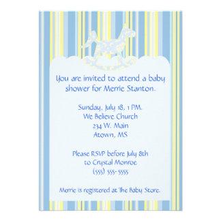 Blue Scallops Stripes Baby Shower Invite
