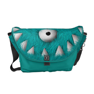Blue Scary Furry Monster Courier Bags