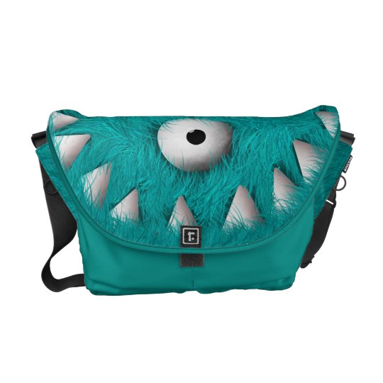 Blue Scary Furry Monster Messenger Bag