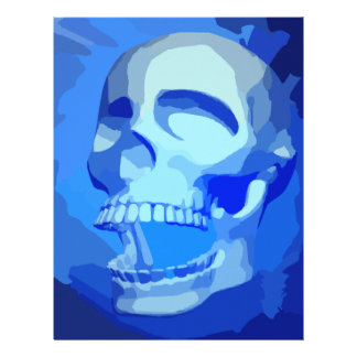 BLUE SCARY SKULL PIXEL GRAPHICS HEAVY METAL DANGER LETTERHEAD