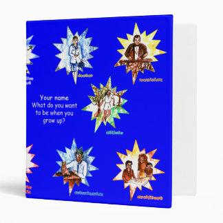 Blue school binder w Professionals as Cartoons