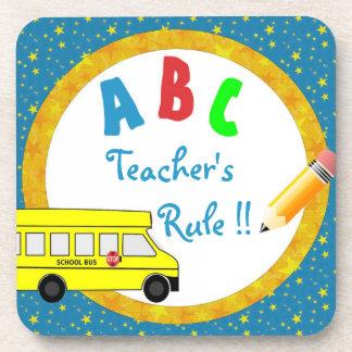 Blue School Bus Teacher's Rule Coaster Set