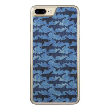 Beach Themed Blue School of Sharks Carved iPhone 7 Plus Case