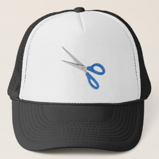 Blue scissors trucker hat