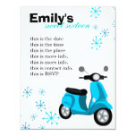 Blue Scooter 4.25x5.5 Paper Invitation Card