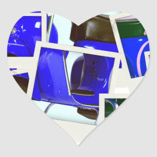 Blue Scooter Heart Stickers