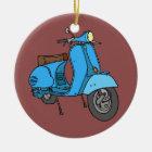 Blue scooter (Vespa) Ceramic Ornament