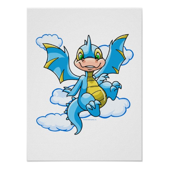 Blue Scorchio with his head in the clouds Poster