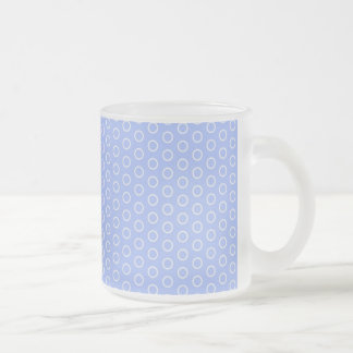 blue scores blue dots polka dabs samples small frosted glass coffee mug