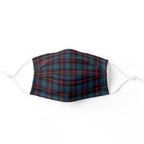 Blue Scottish Plaid Monogram Cloth Face Mask Cover